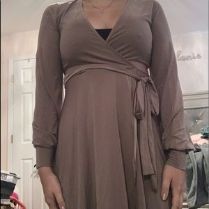 Taupe wrap dress with belt
